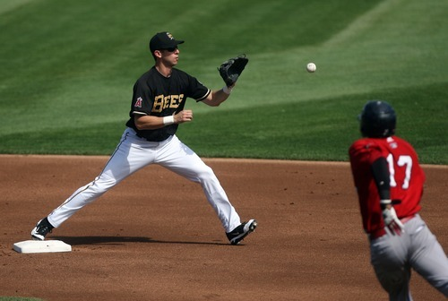 Kim Raff   The Salt Lake Tribune Salt Lake Bees player Ed Lucas gets Oklahoma City Redhawks player Jimmy Paredes out at second and turns the double play during a game at Spring Mobile Ballpark in Salt Lake City, Utah on August 5, 2012.