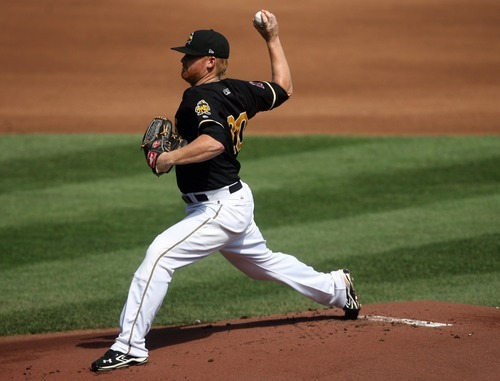Kim Raff | The Salt Lake Tribune Salt Lake Bees pitcher Barry Enright starts against the Oklahoma City Redhawks at Spring Mobile Ballpark in Salt Lake City, Utah on August 5, 2012.
