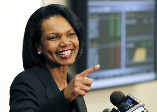 FILE - In this April 17, 2012, file photo, former Secretary of State Condoleezza Rice answers questions from reporters at Mississippi College in Clinton, Miss. The Republican National Committee has announced that Rice will be one of the speakers at the 2012 GOP Convention in Tampa. (AP Photo/Rogelio V. Solis, File)