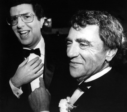 FILE - This Oct. 12, 1983 file photo shows composer Marvin Hamlisch, left, and theatrical producer Joseph Papp at the record-breaking 3,389th performance of the musical