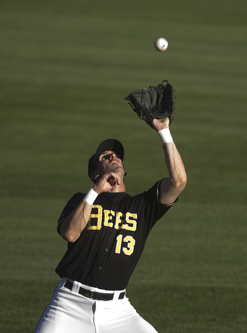 Kim Raff | The Salt Lake Tribune Salt Lake Bees player Ed Lucas catches a fly ball hit by the Oklahoma City Redhawks during a game at Spring Mobile Ballpark in Salt Lake City, Utah on August 6, 2012.