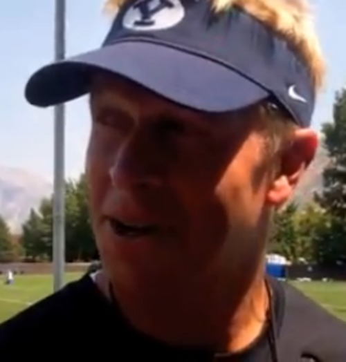 BYU coach Bronco Mendenhall's talks to reporters after practice Tuesday, Aug. 7, 2012.