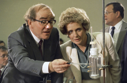 Researcher Martin Fleischmann, left, of the University of Southampton in England explains his fusion experiment to House Energy, Research and Development subcommittee chairwoman Marilyn Lloyd, D-Tenn., during a hearing on Capitol Hill, Wednesday, April 26, 1989, Washington, D.C. Fleischmann teamed up with Utah chemist Stanley Pons to develop a cold-fusion process to produce energy. Fleischmann has died at 85. (AP Photo)