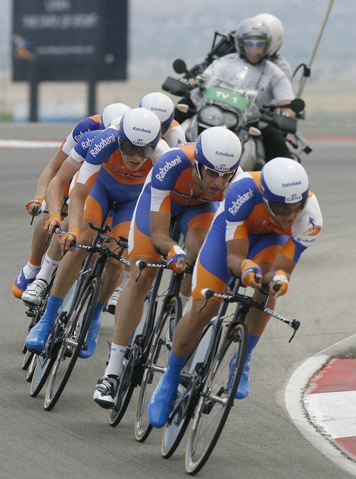 Paul Fraughton | Salt Lake Tribune Team Rabobank rounds a curve at the team time trial at  the second stage of the Tour of Utah held at Miller Motorsports Park.  The cyclists finished in second place behind  Garmin Sharp.  Wednesday, August 8, 2012