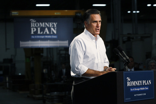 Republican presidential candidate and former Massachusetts Gov. Mitt Romney campaigns at Acme Industries in Elk Grove Village, Ill.,Tuesday, Aug. 7, 2012. (AP Photo/Charles Dharapak)