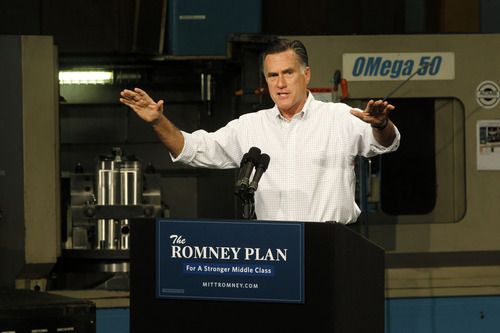 Republican presidential candidate, former Massachusetts Gov. Mitt Romney campaigns at Acme Industries in Elk Grove Village, Ill.,Tuesday, Aug. 7, 2012. (AP Photo/Charles Dharapak)