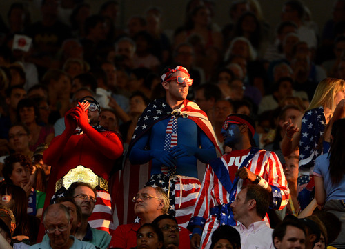 USA fans wait for the start of their game against Japan for the Women's Football Gold Medal Match at Wembley Stadium for the London 2012 Olympics in London, England on Thursday, Aug. 9, 2012.  (Nhat V. Meyer/Mercury News)