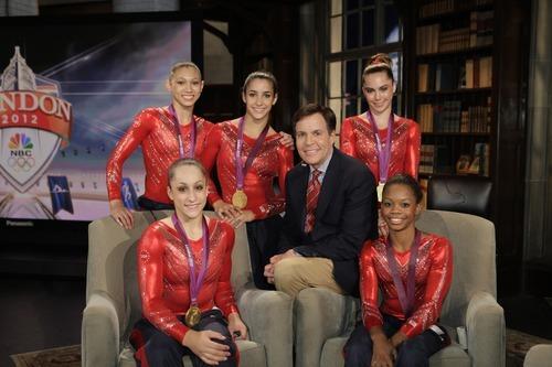 US Women's Gymnasts -- Pictured: (l-r) Kyla Ross, Jordyn Wieber, Aly Raisman, Bob Costas, McKayla Maroney, Gabby Douglas -- (Photo by: Paul Drinkwater/NBC)