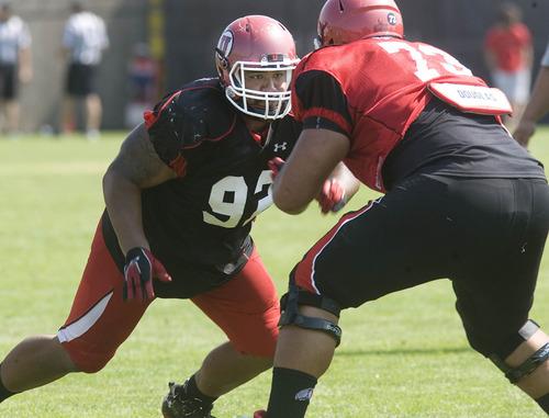 Paul Fraughton  |  The Salt Lake Tribune Star Lotulelei at Utah's practice Tuesday, August 7, 2012.