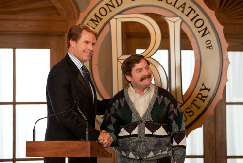 This film image released by Warner Bros. shows Will Ferrell as Cam Brady, left, and Zach Galifianakis as Marty Huggins in a scene from