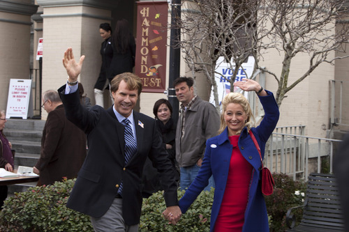 This film image released by Warner Bros. shows Will Ferrell as Cam Brady, left, and Katherine LaNasa as Rose Brady in a scene from
