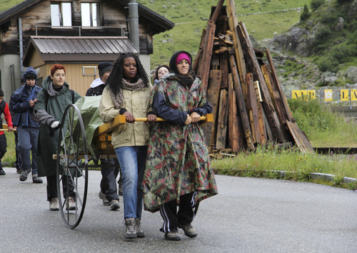 Left to right: Stefano Nicotra, Sara Grimaldi, Selina Osamuede and Micol Bertolio. Mormon teens in the Milan, Italy LDS stake took a 10-day, 100-mile trek through the Swiss Alps to get a taste of what 19th-century Mormon pioneers experienced. (Courtesy photo by Marco dal Zotto)