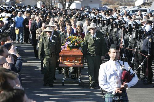 Scott Sommerdorf  |  Salt Lake Tribune JOSIE FOX FUNERAL The funeral for slain Millard County Deputy Josie Fox in Delta, Monday, 1/11/10