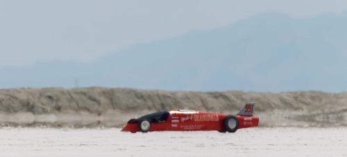 Trent Nelson  |  The Salt Lake Tribune The Spirit of Orangevale races down the track at the 64th annual Speed Week at the Bonneville Salt Flats, Utah Saturday, August 11, 2012.