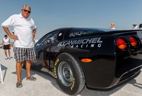 Trent Nelson  |  The Salt Lake Tribune George Michel with the Corvette he's driving at the 64th annual Speed Week at the Bonneville Salt Flats, Utah Saturday, August 11, 2012.