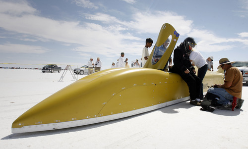 Rick Egan   |  Tribune file photo Bobby Moore, Tulsa, Okla., prepares for a run at the Bonneville Salt Flats during the 2011 Speed Week in the