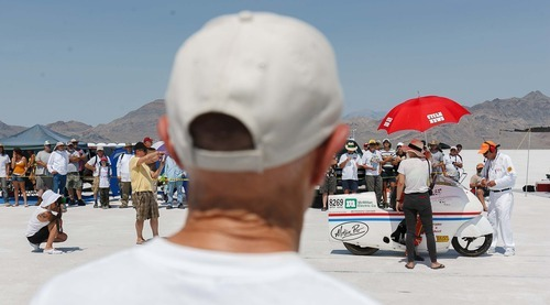 Trent Nelson  |  The Salt Lake Tribune The scene at the starting line at the 64th annual Speed Week at the Bonneville Salt Flats, Utah Saturday, August 11, 2012.