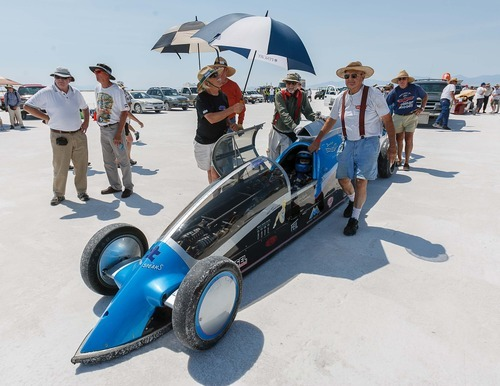 Trent Nelson  |  The Salt Lake Tribune Driver Don Biglow waits for his turn at the starting line at the 64th annual Speed Week at the Bonneville Salt Flats, Utah Saturday, August 11, 2012.