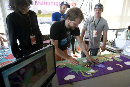 Kim Raff   The Salt Lake Tribune Josh Samson from Spy Hop Productions makes stop animation videos in the Xmission's Science and Technology Building DIY Engineers display during the 4th annual Craft Lake City Utah's DIY Festival at the Gallivan Center in Salt Lake City, Utah on August 11, 2012.