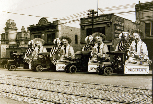Wagener Brewing Company with decorated trucks in 1913. Courtesy of the Utah Historical Society