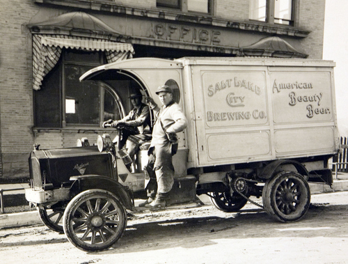 Salt Lake Brewing Company auto truck in 1912. Courtesy of the Utah Historical Society