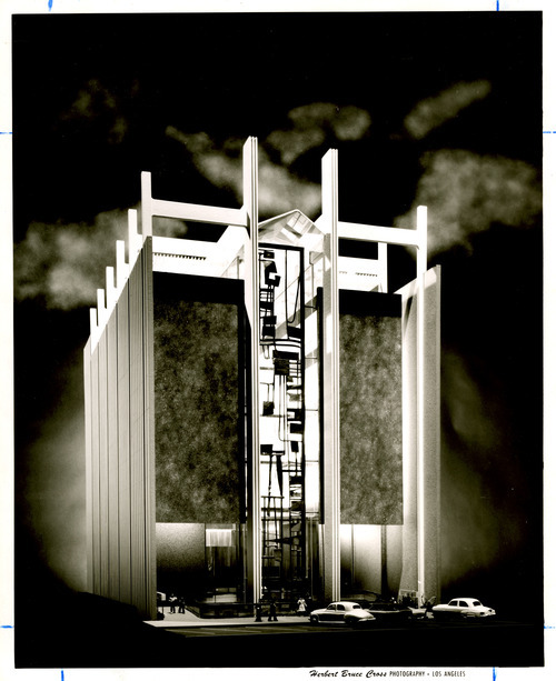 An architectural model of the Prudential Building prior to its construction on Main Street of Salt Lake City. June 4, 1962.
