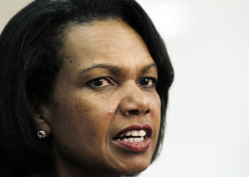 FILE - Former Secretary of State Condoleezza Rice will stump for Mia Love in Utah's 4th Congressional District. She is the latest in a line of big-name GOP stars to back the Saratoga Springs mayor. In this April 17, 2012, file photo, Rice speaks at Mississippi College in Clinton, Miss. (AP Photo/Rogelio V. Solis, File)