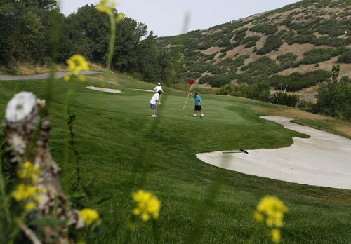 Scott Sommerdorf     The Salt Lake Tribune              Larry Lucero, Kevin Wall and Dennis Lamle play golf at Mountain Dell Golf Course, Monday, August 13, 2012.