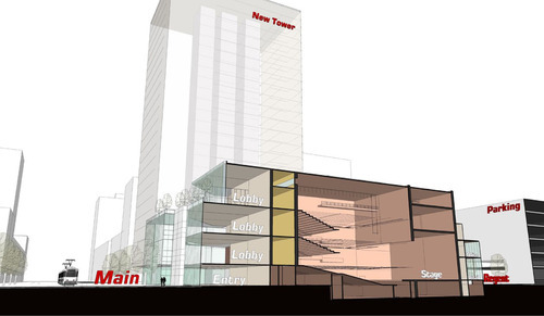 A cutaway view, looking north, of a plan for a Broadway-style theater along Main Street in downtown Salt Lake City.