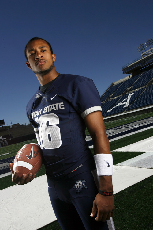 Francisco Kjolseth  |  The Salt Lake Tribune Chuckie Keeton with Utah State University attends Media Day at Romney Stadium in Logan on Thursday, August 2, 2012, in preperation for football season.