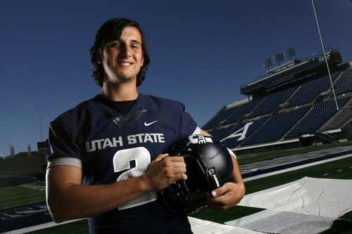 Francisco Kjolseth  |  The Salt Lake Tribune Adam Kennedy with Utah State University attends Media Day at Romney Stadium in Logan on Thursday, August 2, 2012, in preperation for football season.