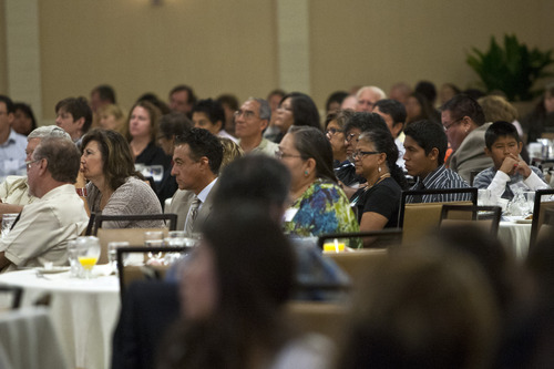 Chris Detrick  |  The Salt Lake Tribune Attendees listen to presenters at the 7th annual Native American summit Tuesday at the Sheraton Hotel in Salt Lake City. More than 650 were in attendance of the two-day summit that began Tuesday.