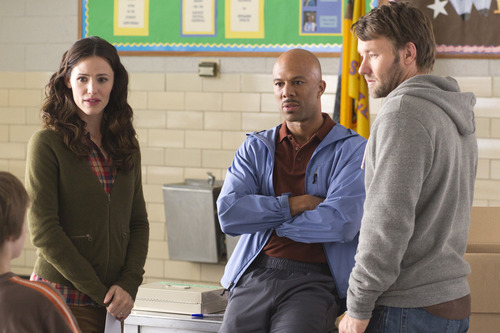 This film image released by Disney shows, from left, Jennifer Garner, Common, and Joel Edgerton in a scene from