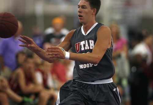 Scott Sommerdorf  |  The Salt Lake Tribune              Dalton Nixon competes in the Big Mountain Jam at the South Towne Expo Center in Sandy. Utah Hoops won the Pangos Sweet 16 last weekend in Long Beach, Calif.
