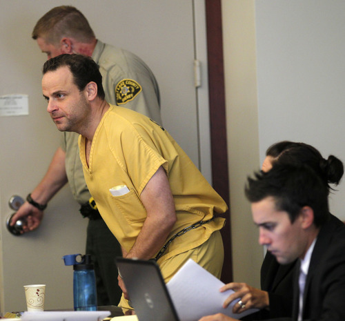 Al Hartmann  |  The Salt Lake Tribune   GOP activist Greg Peterson who is accused of multiple date-rapes appears with his defense lawyers Cara Tangaro and Gerald Salcido during the second day of a preliminary hearing in Third District Court in Salt Lake City Wednesday August 15.