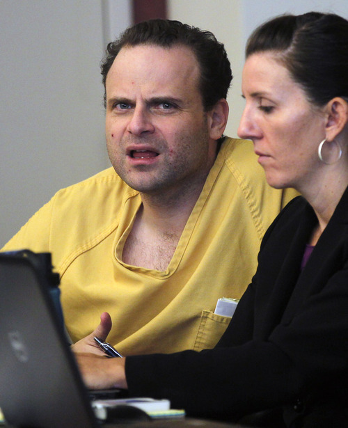 Al Hartmann     The Salt Lake Tribune   GOP activist Greg Peterson who is accused of multiple date-rapes listens to witness testimony with his defense lawyer Cara Tangaro during the second day of a preliminary hearing in Third District Court in Salt Lake City Wednesday August 15.