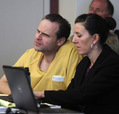 Al Hartmann  |  The Salt Lake Tribune   GOP activist Greg Peterson who is accused of multiple date-rapes listens to witness testimony with his defense lawyer Cara Tangaro during the second day of a preliminary hearing in Third District Court in Salt Lake City Wednesday August 15.