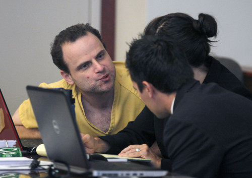Al Hartmann  |  The Salt Lake Tribune   GOP activist Greg Peterson who is accused of multiple date-rape speaks with his defense lawyers Cara Tangaro and Gerald Salcido during the second day of a preliminary hearing in Third District Court in Salt Lake City Wednesday August 15.