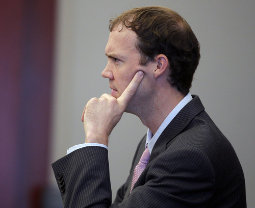 Al Hartmann     The Salt Lake Tribune   Prosecutor Thaddeus May questions witness during the second day of a preliminary hearing for Greg Peterson in Third District Court in Salt Lake City Wednesday August 15.