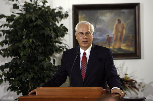Francisco Kjolseth     The Salt Lake Tribune Elder William R. Walker welcomes the media during an invitation to attend a media briefing and tour of The Church of Jesus Christ of Latter-day Saints' 14th temple in Utah, recently completed in Brigham City on Tuesday, August 14, 2012.