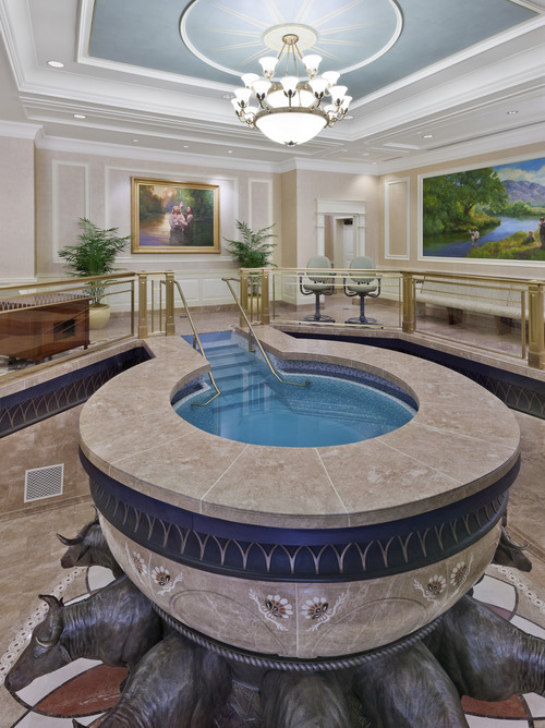 Baptistry in the Brigham City Utah Temple. Courtesy LDS Newsroom