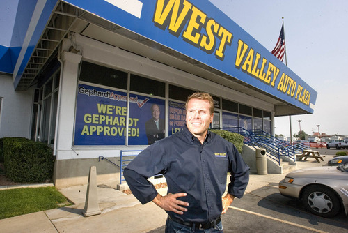 Paul Fraughton | Salt Lake Tribune Nick Markosian, owner of West Valley Auto Plaza in West Valley City, stands outside his business  that will be moving half a mile down Redwood Road to a new location in Taylorsville.  Thursday, August 16, 2012