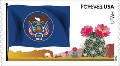 A new forever stamp featuring the Utah State Flag debuted Thursday, joining the U.S. Post Office's Flags of Our Nation stamp series. The Utah Flag stamp features the state seal, a blooming cactus and a highly stylized arch formation.