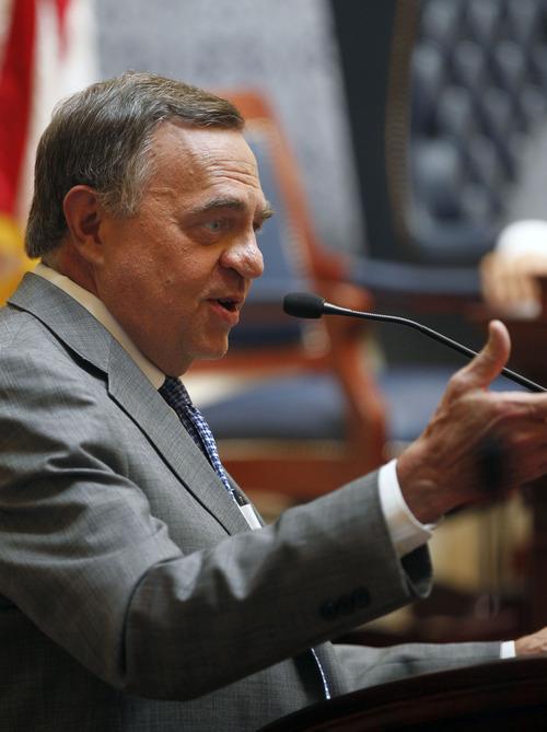 Al Hartmann     The Salt Lake Tribune   Dave Buhler speaks to the Utah Senate after members voted to confirm him as Utah's new Commissioner of Higher Education.
