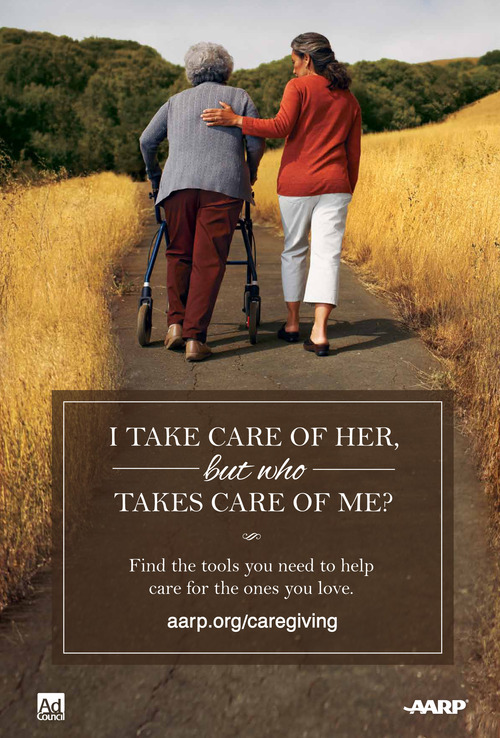 This undated ad, provided by AARP and the Ad Council, is from a new public service announcement illustrating the frustration that family members can feel as they struggle to care for aging loved ones while holding down jobs, raising children and taking care of their own health. The campaign, beginning Thursday, is to raise awareness of family caregivers and point them toward resources that may ease the strain.  (AP Photo/AARP, Ad Council)