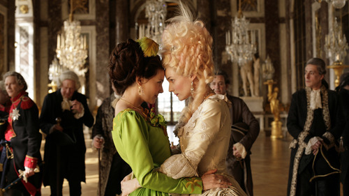 Marie-Antoinette (Diane Kruger, right) greets her favorite, Countess Gabrielle de Polignac (Virginie Ledoyen), in the French drama