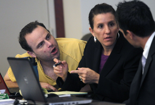 Al Hartmann  |  The Salt Lake Tribune   GOP activist Greg Peterson who is accused of multiple date-rapes speaks with his defense lawyers Cara Tangaro and Gerald Salcido during the second day of a preliminary hearing in Third District Court in Salt Lake City Wednesday August 15.