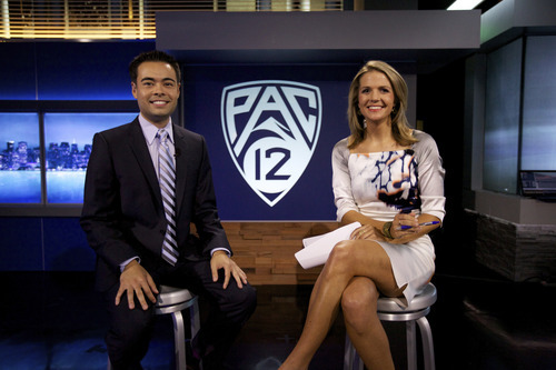 Courtesy photo Mike Yam and Ashley Adamson on the set of the Pac-12 Networks' new studio.