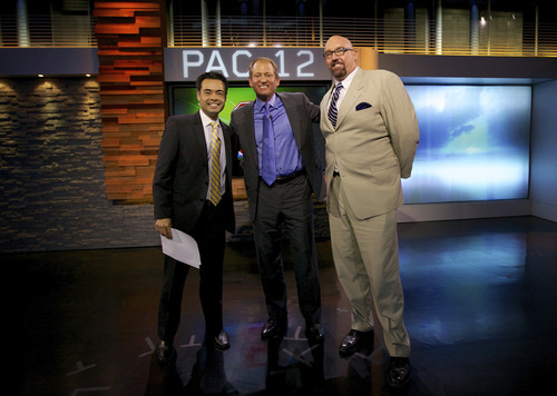 Mike Yam, Rick Neuheisel and Glenn Parker on the set of the Pac-12 Networks' new studio. Courtesy photo