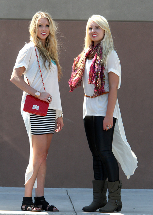 Rick Egan  | The Salt Lake Tribune   Summer: Hilary Soeter wears a high-low T-shirt ($34.99), with a striped mini skirt ($21.99), with black gladiator sandals ($29.99), and patent red purse ($29.99).  Fall: Katie Kelson wears the same high-low T-shirt, with black leather-look leggings ($21.99), a printed scarf ($15.99), taupe boots ($39.99) and a skinny belt ($5.99).